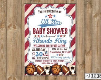 All-Star Baby Shower Invitation /Sports Baby Shower/Vintage Sports Baby Shower/Baby Boy Shower