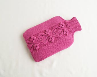 Hot Water Bottle Cosy Cover Cerise Pink - FOXCOTE