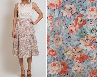 Sale 60s 70s Vintage BOHO FLORAL Wrap SKIRT seventies High Waisted Adjustable vtg wrap skirt