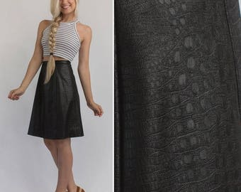 Sale Faux leather skirt- Vintage 60s 70s knee length BLACK skirt high waist a line faux leather circle skirt