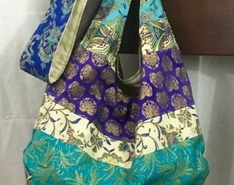 Crossbody hobo bag, purple and turquoise sling bag, egyptian cross body bag