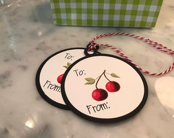Round Cherry Gift Tags Set of 5, Double Layered with Red and White Twine