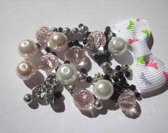 17 glass beads, rondelle rhinestone and bow (BB21)