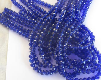 50 10mm sapphire blue glass beads