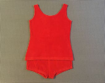 1960's, terrycloth tank and shorts set, in red, Women's size Small/Medium