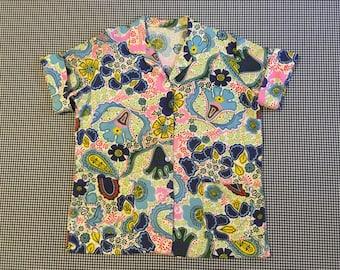 1960's, Hawaiian, Smock, shirt, Women's size XL