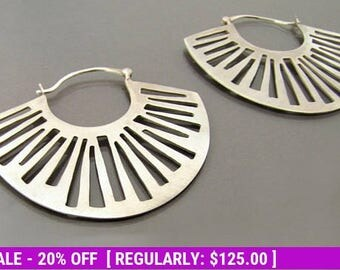 Statement Earrings, Silver Hoop Earrings, Bohemian Earrings, Big Silver Earrings, Sterling Silver Hoop Earrings, silver tribal earrings