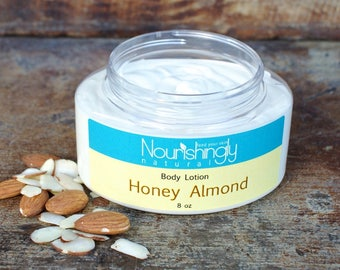 Organic Hand Cream, Almond Body Lotion, Essential Oil Lotion, Honey Almond Hand Cream, Thick Body Cream, Unisex Hand Lotion for Dry Skin