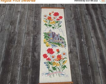 Summer sale -20% Scandinavian vintage wall hanging. Hand printed picture with flowers on linen fabric.