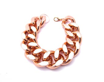 Oversize Rose Gold Chunky Chain Bracelet Matching Necklace Available