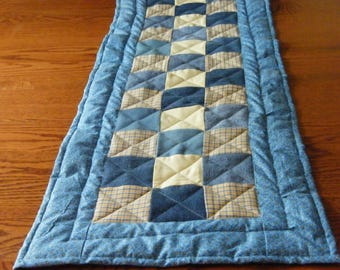 Quilted Table Runner, Machine Quilted Table Topper, Denim Table Runner, Table Linen,  Denim Design, Nine Patch Pattern