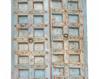 Blue Distressed Antique Iron Nailed Hand Carved Doors Teak Wood Double Door Old Haveli Decor FREE SHIP Early Black Friday