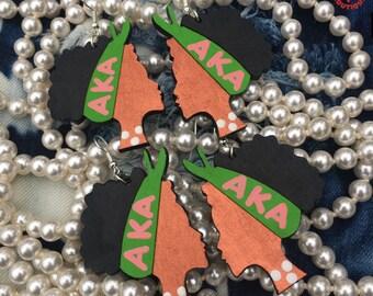 AKA Earrings Sorority Inspired Girls Women Alpha Kappa Alpha National Pink And Green College University Soror Pearls Sorors Girls Woman