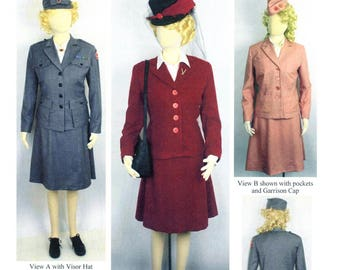 Ladies' WWII Red Cross Uniform & Skirted Suit sizes 8-34, Visor Hat and Garrison Cap - Laughing Moon Sewing Pattern # 139
