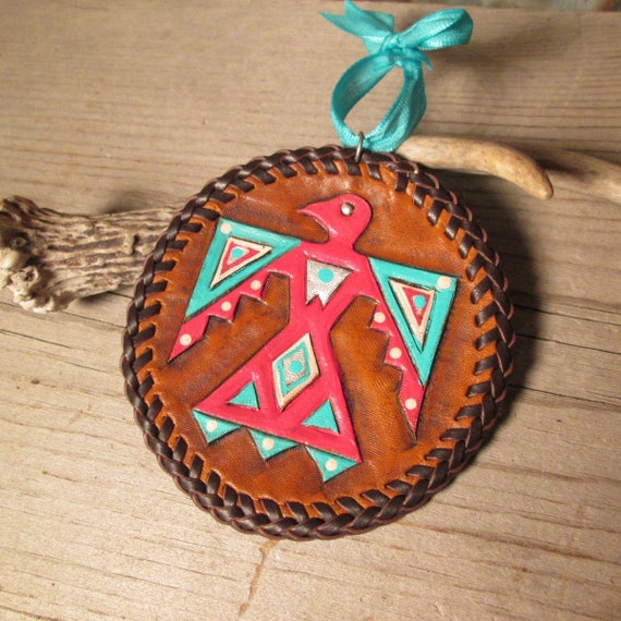 Tooled Leather Christmas Ornament, Leather Ornament, Christmas Ornament