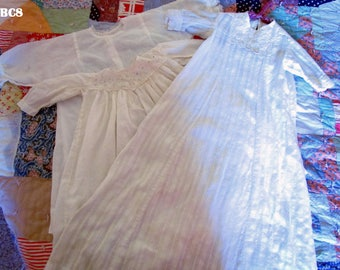 3 Antique 1910's Baby Baptismal Gowns, Dresses or Nightgown