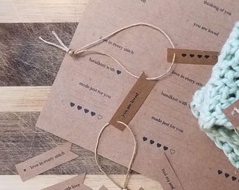 Tiny Labels for Knit or Crochet - PRINT YOUR OWN