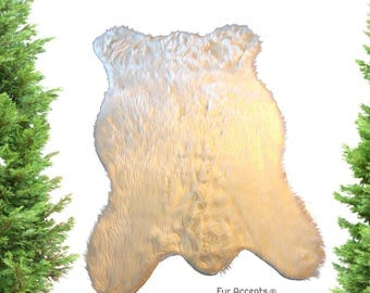 Faux Fur Bear Skin Rug   Shaggy Sheepskin   Designer Accent Rug Throw Rug    Toss