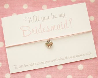 Will You Be My Bridesmaid Chief Bridesmaid Maid Of Honour Flower Girl? Wish Bracelet Gift & Envelope