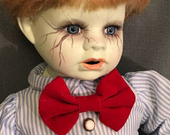 Hand Painted Horror Doll -  Creepy Sitting Doll , Zombie Boy Doll , Zombie Baby Boy, Undead, Creepy Boy Doll, Porcelain Art Doll