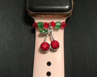 Apple Watch Charm/ Slide on Jewelry/ Accessory/ Cherries Cherry Reds and Greens