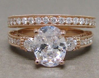Oval Forever One Moissanite 3 Stone Diamond Engagement Ring Wedding Bridal Set 14k Rose Gold 9x7mm Colorless