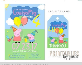 ON SALE INVITE and Gift Tag Peppa Pig Oink Party Digital Download Invitation and Thank you Tags Custom Printable Birthday pdf invite spanish