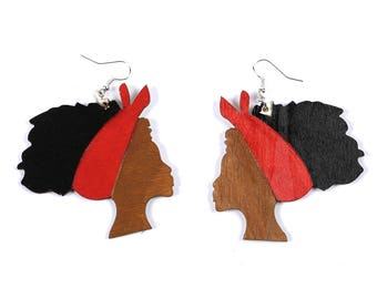 African Head Wrap earring, Afro hair earring, red afrocentric earring, Red wooden earring, Handmade Afro Earring, Bridesmaids earring