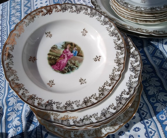 Free Ship. 6 French White Limoges Porcelain Soup Plates Romantic Fragonard Style Gilded #sophieladydeparis