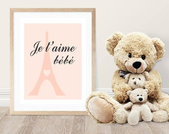 Baby Girl Nursery Wall Decor-Je t'aime bebe-I love you baby-Pink-Blue-Purple-Mint-Nursery Decor-Inspirational Art-Paris-French-Eiffel Tower