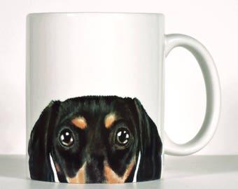 Dachshund Mug, Black Doxie Mug, Peekaboo Dachshund Gift, Personalized Dachshund