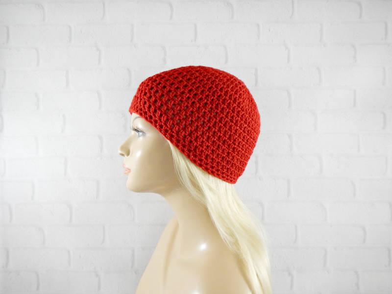 Crochet Skull Cap Crochet Beanie Hat Womens Vegan Hat Adult