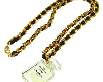 Vintage Authentic CHANEL CC Logos Gold Chain Perfume Pendant Necklace