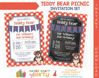 Teddy Bear Picnic (Red-Blue) Invitation | INSTANT DOWNLOAD & Edit in Adobe Reader | Printable Invite | Paper Craft Party