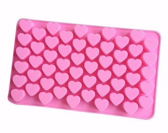 Hearts Silicone Mold - Baking Fondant Candy Royal Icing Soap Chocolate Love Wedding Engagement Bridal Baby Shower Party