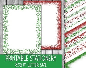 Printable Christmas Stationery - Green and Red Glitter Christmas Letter Paper - Letterheads -  16 Designs - 8.5in x 11in - Commercial Use