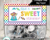 End of School Treat Bag Topper Have A Sweet Summer Rainbow Polka Dots Digital Printable INSTANT DOWNLOAD