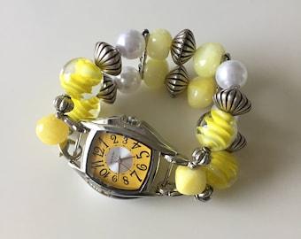 Womens Watch/Womens Yellow Watch/Beaed Watch/Watch/Yellow WatchBand/Womens Yellow Watch Band/Stretch Watch Band/Womens Beaded Watch(123)