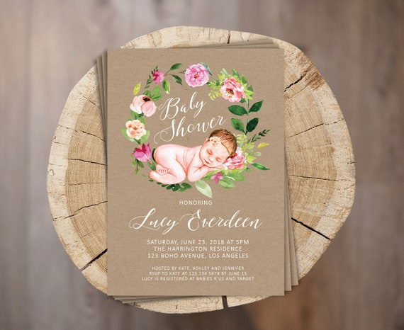 Rustic baby shower invitation personalized digital baby girl shower il570xn filmwisefo