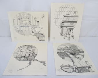 Lum Edwards Homestead Prints, Set of 4, Signed and Numbered