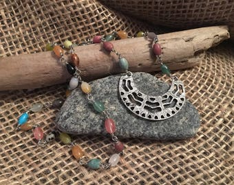 Silver Aztec and Multi-gemstone Layering Necklace