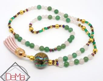 Aventurine & Rose Quartz Beaded Necklace