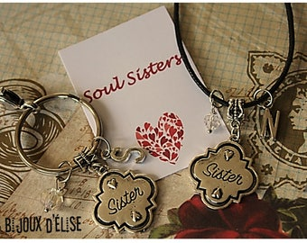 Personalized Sister Keychain or Necklace (KC117-CO117)