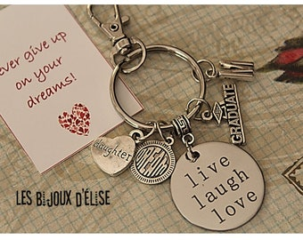 Live Laugh Love Graduation Keychain Sister Son or Daughter Live Your Dream Keychain Prom Bag dangle Purse Jewelry (KC125)