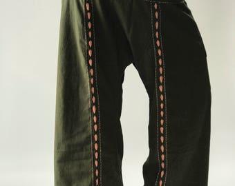 FW0012 Hand stitch Inseam design for Thai Fisherman Pants Wide Leg pants, Wrap pants, Unisex pants