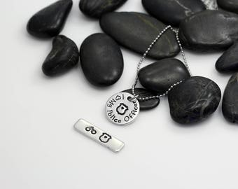 I Love My Police Officer Hand Stamped | Custom | Necklace