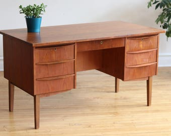 Mid Century Danish Modern Desk with Finished Back