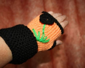 pale orange and black gloves cover