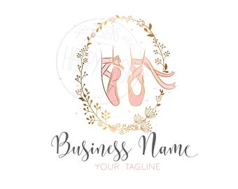 Custom logo design, gold Logo and watermark, ballerina pink gold logo, ballet shoes Logo, pink gold ballet shoes logo, ballet flowers logo
