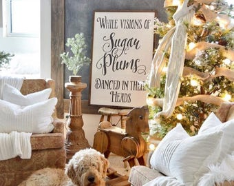 While Visions of Sugar Plums Danced In Their Heads DIGITAL PRINT • Rustic Wooden Christmas Sign • Farmhouse Christmas Sign